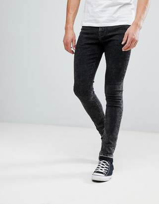 Hoxton Denim Super Skinny Jeans in Acid Wash with Unrolled Hem