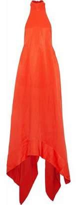 SOLACE London Asymmetric Cady Halterneck Gown