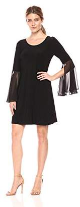 MSK Women's Knit to Woven Bell Sleeve Shift Dress with Cageback
