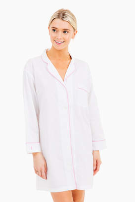 Marigot Collection Classic Night Shirt White with Seaglass Piping