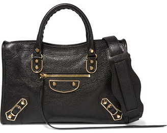 Balenciaga - Metallic Edge City Small Textured-leather Shoulder Bag - Black $2,050 thestylecure.com