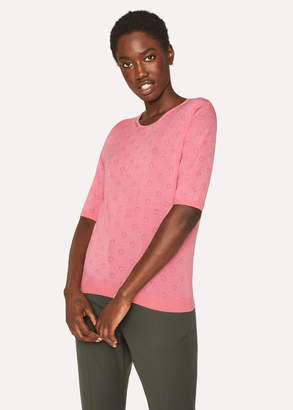 Paul Smith Women's Pink Merino Wool And Silk-Blend Knitted T-Shirt