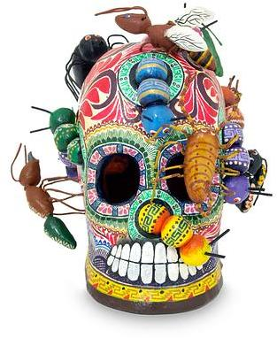 Collectible Mexican Ceramic Skull Sculpture, 'New Life'