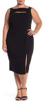 Marina Boat Neck Slit Long Dress (Plus Size)
