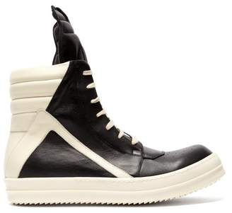 Rick Owens Geobasket High Top Leather Trainers - Mens - Black White