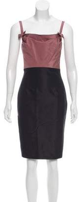 Valentino Lace-Trimmed Colorblock Dress Mauve Lace-Trimmed Colorblock Dress