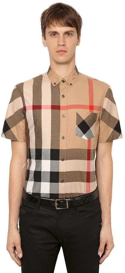 Burberry Macro Check Twill Short Sleeve Shirt