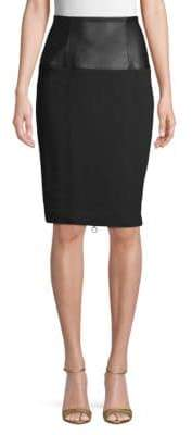 Kenneth Cole Urban Terry Faux Leather-Trimmed Pencil Skirt