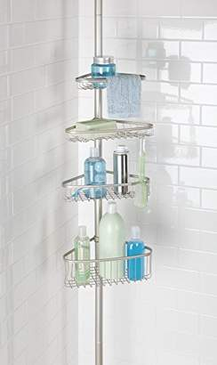 mDesign Bathroom Shower Storage Constant Tension Corner Pole Caddy – Adjustable Height - 4 Positionable Baskets - for Organizing and Containing Hand Soap