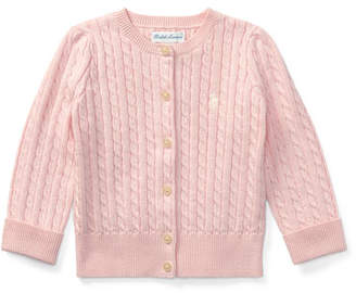 Ralph Lauren Childrenswear Cable Knit Cotton Cardigan, Size 3-12 Months