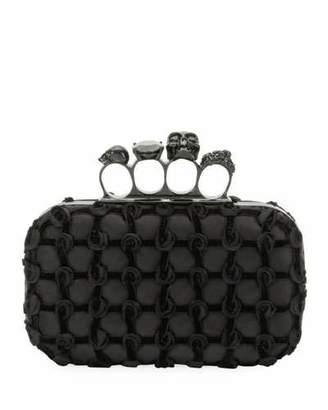 Alexander McQueen Jeweled Velvet Grid Four-Ring Box Clutch Bag