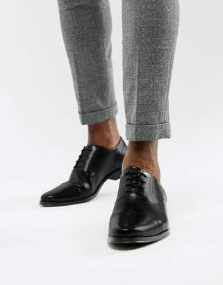 Asos Design DESIGN oxford shoes in black leather with toe cap