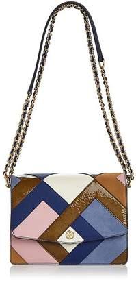 Tory Burch Robinson Color-Block Leather & Suede Pierced Shoulder Bag