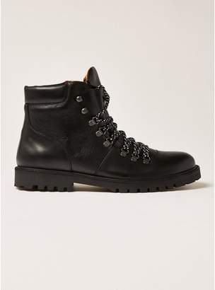 Topman Mens SELECTED HOMME Isaac Black Leather Hiking Boots