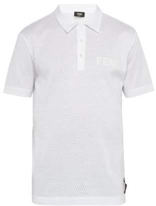 715ad2d5 Fendi Logo Text Mesh Polo Shirt - Mens - White