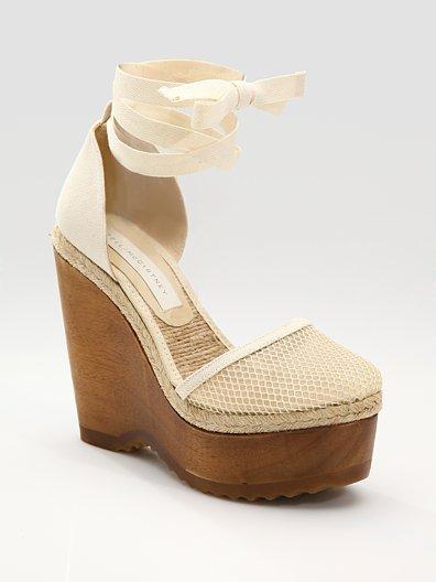 Stella McCartney Net Canvas Wedge Sandals