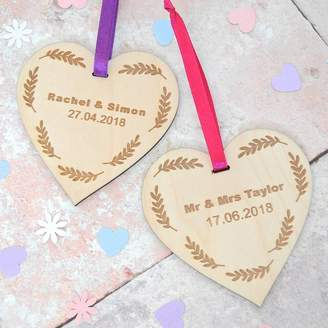 Sweet Pea Design Personalised Wedding Date Wooden Heart