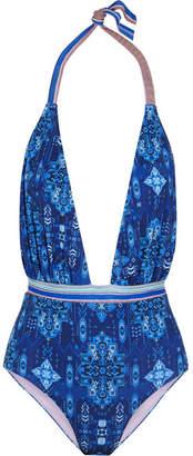 Printed Halterneck Swimsuit - Blue