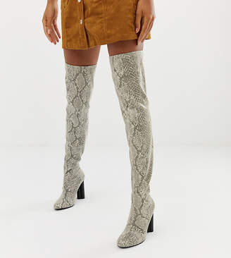 Asos Design DESIGN Kalise stretch thigh high boots in Snake