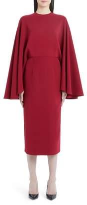 Sara Battaglia Cape Sleeve Sheath Dress