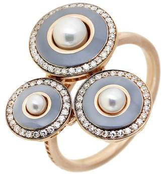 Selim Mouzannar Grey Enamel, Pearl and Diamond Trio Ring