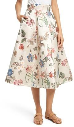 Women's Alice + Olivia Fila Floral Midi Skirt $495 thestylecure.com