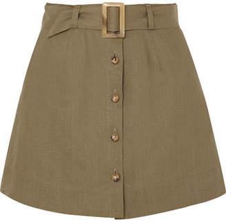 Lisa Marie Fernandez Belted Linen Mini Skirt - Army green