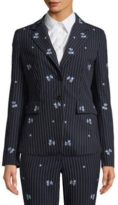 Marella Embroidered Pinstripe Blazer
