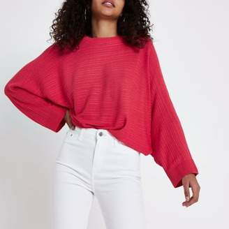 River Island Pink ribbed long sleeve knitted sweater