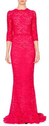 Dolce & Gabbana 3/4-Sleeve Fitted Lace Gown, Shocking Pink $4,995 thestylecure.com