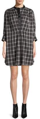 Marc Jacobs Long-Sleeve Button-Down Plaid Cotton Dress
