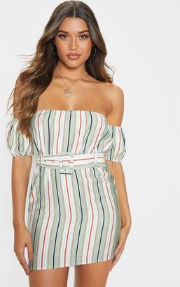 PrettyLittleThing Sage Green Stripe Belt Detail Bardot Shift Dress