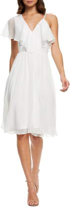 Dress the Population Claudia Asymmetrical Ruffle Cocktail Dress
