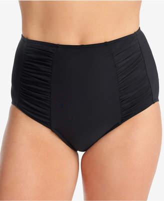 Swim Solutions High-Waist Shirred-Side Tummy Control Bikini Bottoms, Created for Macy's Women's Swimsuit