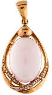 18K Diamond & Rose Quartz Pendant