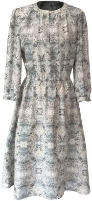Katherine Hooker Sadie Dress In Silver Kaleidoscope Silk