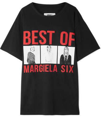 MM6 MAISON MARGIELA Printed Cotton-jersey T-shirt - Black