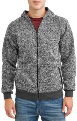 Generic Men's Solid Raglan Sweater Zip up Fleece Hoodie, up to Size 5XL