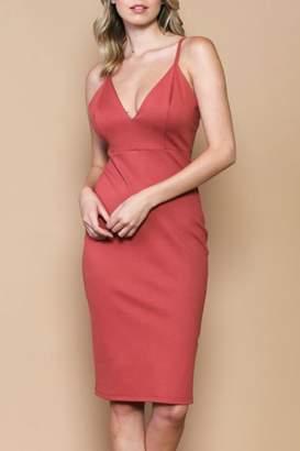 Solemio Plunge Midi Dress
