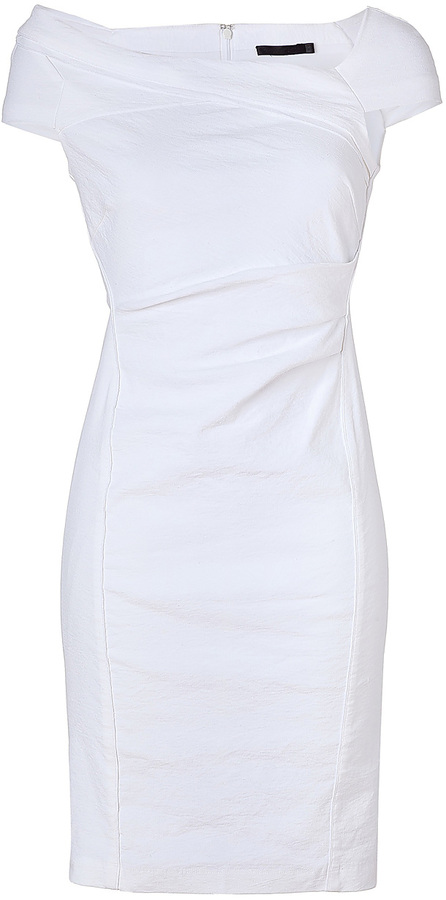 Donna Karan Zinc Cap Sleeve Linen Blend Dress
