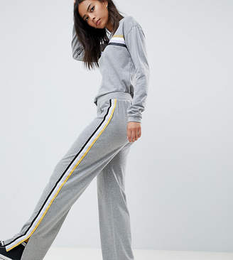 Noisy May Tall Wide Leg Track Pants with Side Stripe