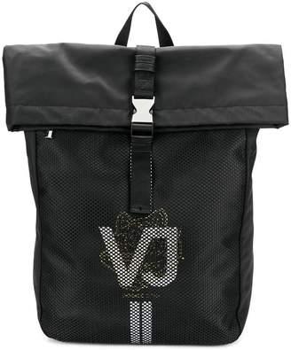 ba127f9e71d2 Versace logo print mesh backpack