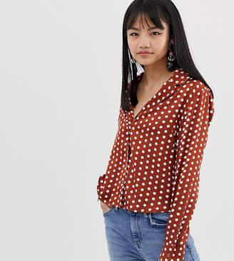 Glamorous Petite revere collar blouse in polka dot satin