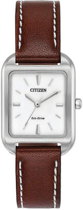 Citizen Eco-Drive Women's Silhouette Brown Leather Strap Watch 23x32mm EM0490-08A