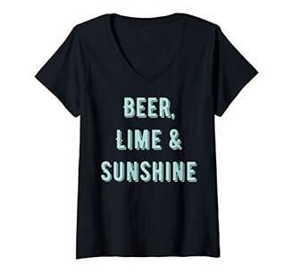 Womens Beer lime and sunshine V-Neck T-Shirt