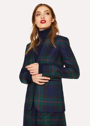 Paul Smith Women's Slim-Fit Navy, Green And Red Tartan One-Button Wool Blazer