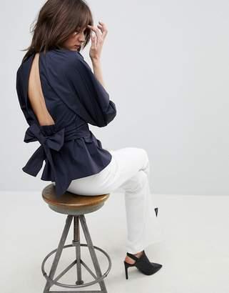 Asos Design DESIGN Premium Cotton Open Back Top