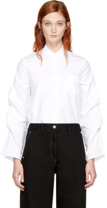 Vejas White Gathered Puff Sleeve Blouse