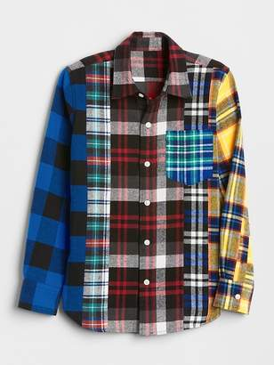Gap Mix-Plaid Flannel Shirt