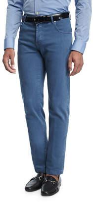 Kiton Washed Stretch-Denim Straight-Leg Jeans
